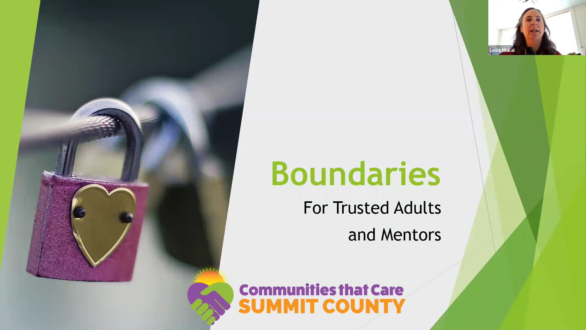 A webinar on Boundaries with Leisa Mukai, Director of Prevention and Education at the Peace House